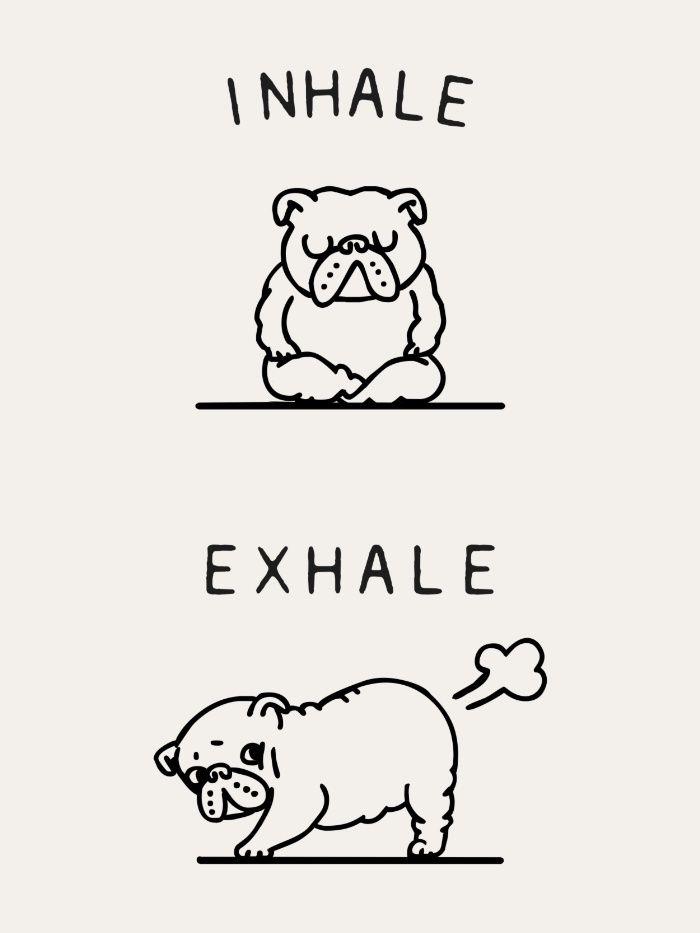 Inhale Exhale English Bulldog Art Print Bulldog Funny English