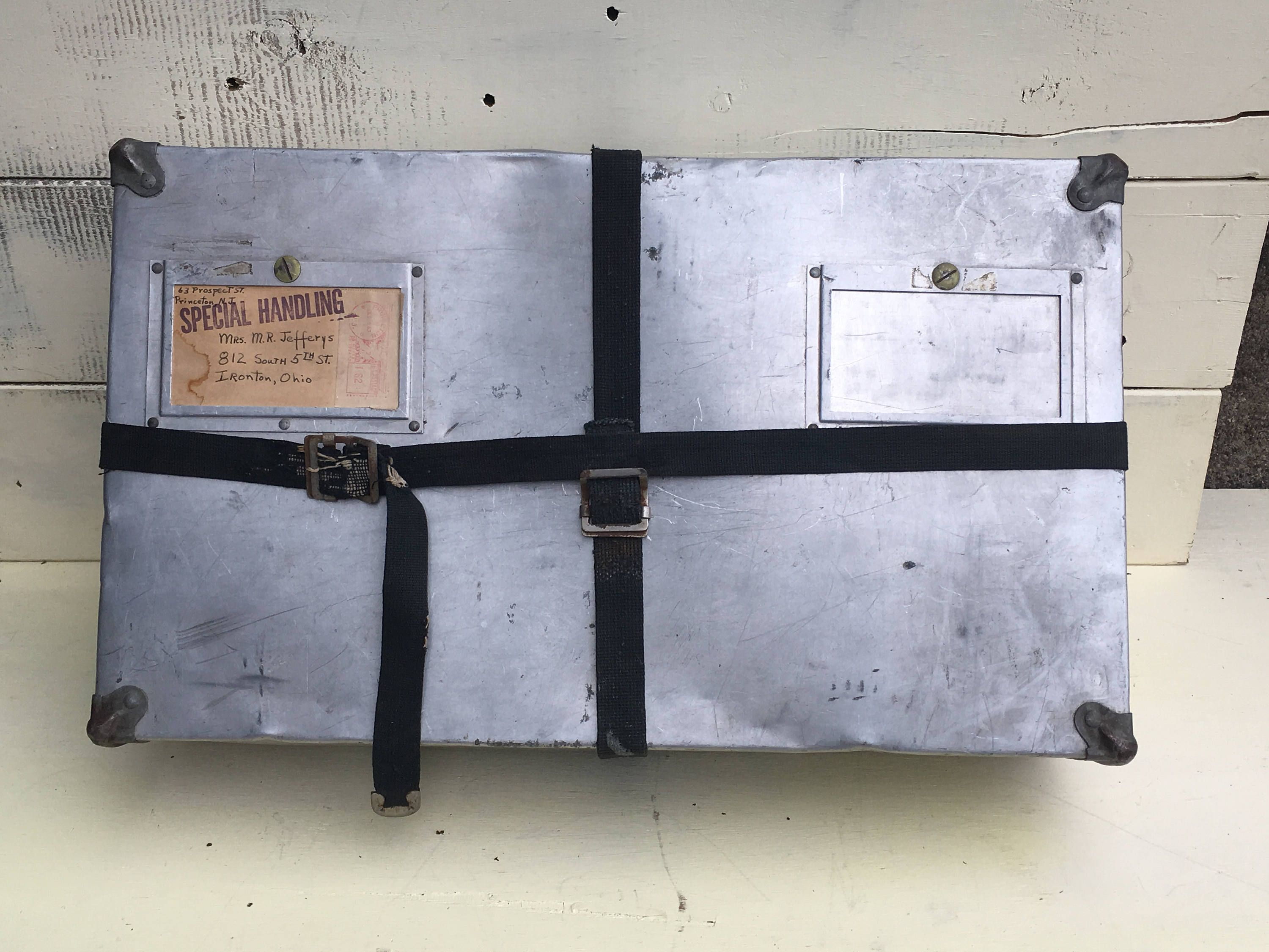 Unique Metal Air Mail Box * 1950s-60s Metal Mailing Box with Straps ...