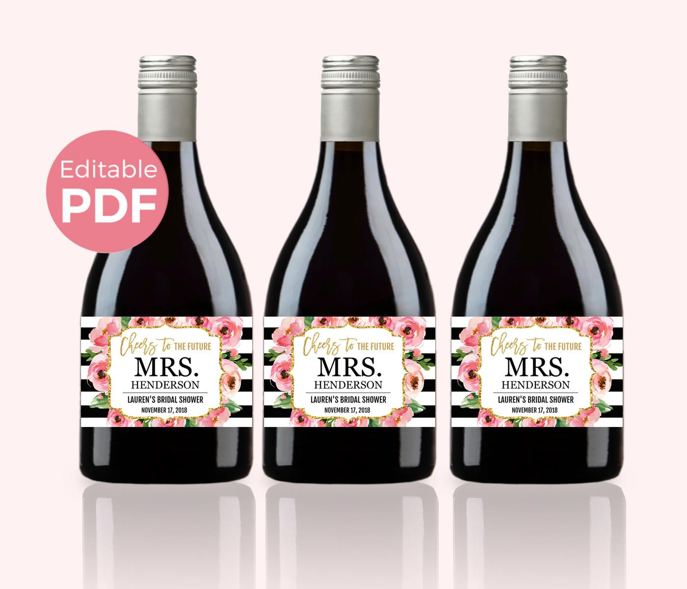 Floral Mini Wine Bottle Labels PDF Kate Bridal Shower Wine Labels - Mini wine label template