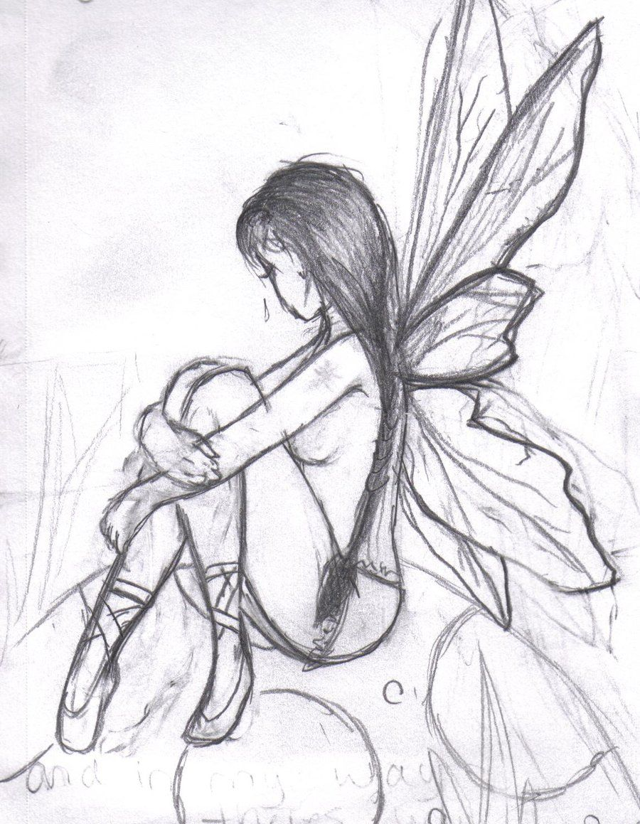 dark fairy drawings easy more