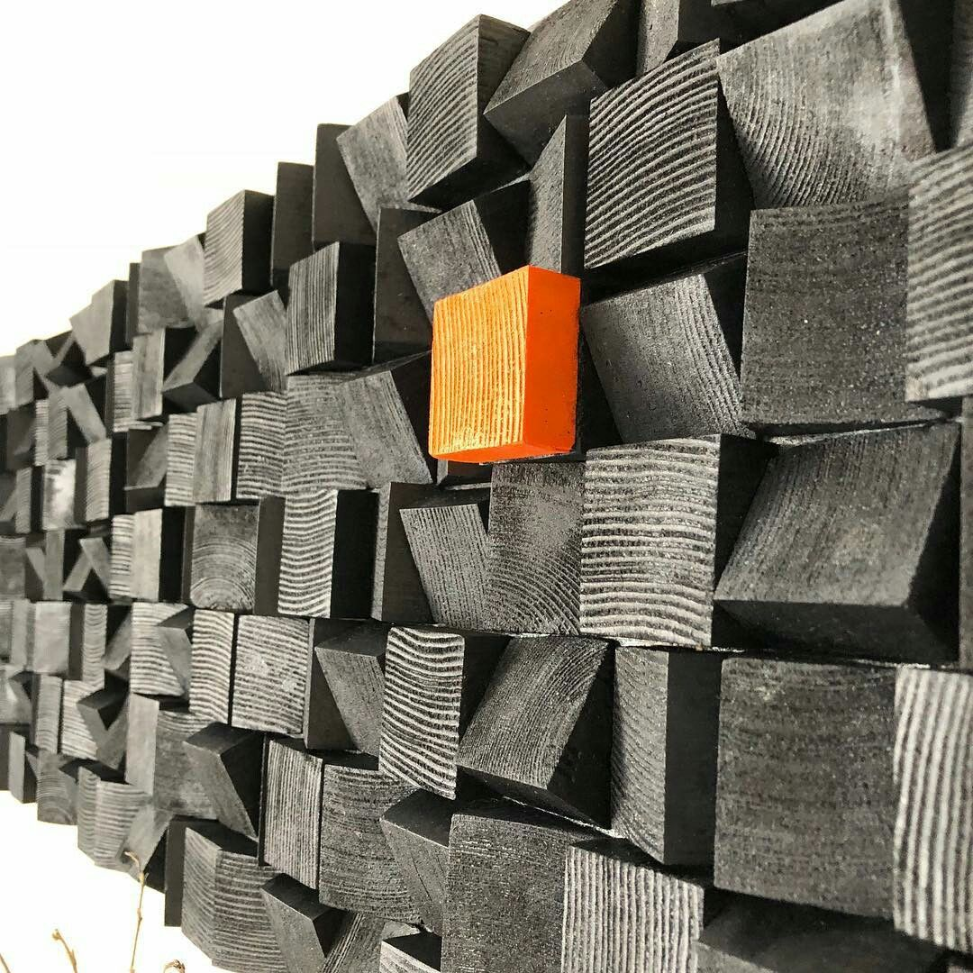 Total black art wood wall art reclaimed wood art mosaic wood art