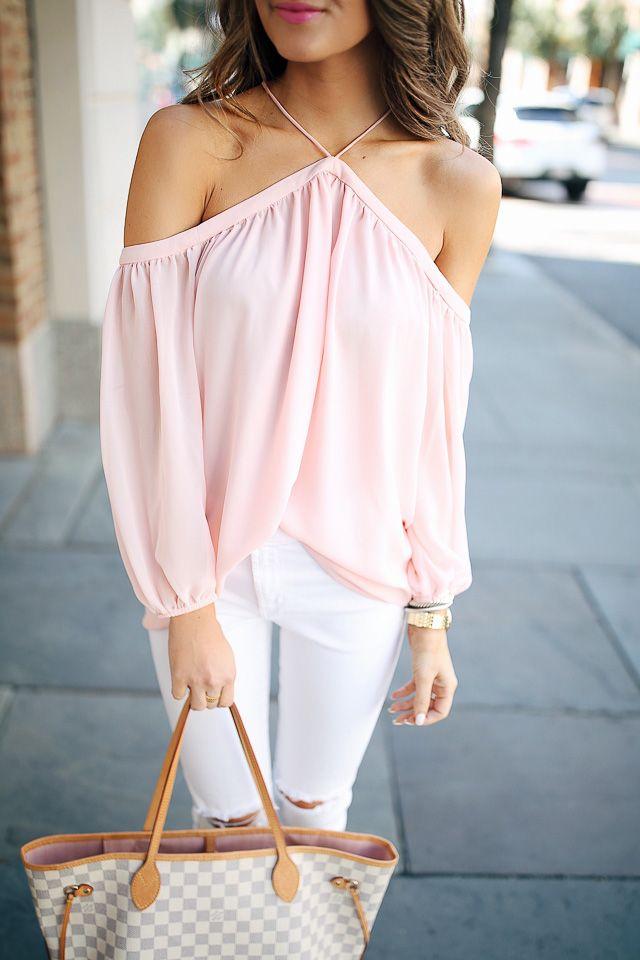 78ca4e79b16 cold shoulder chiffon blouse (less than  100
