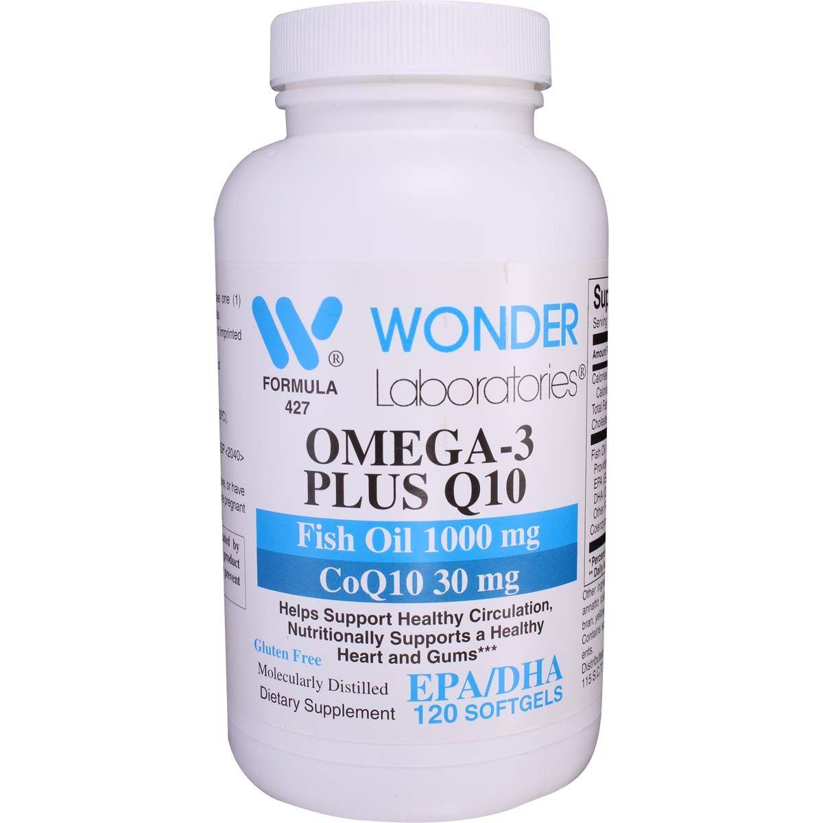 Omega 3 Plus Q10 Fish Oil 1000 Mg Coq10 30 Mg 120 Softgels Wonderlabs Vitamins Nutrition Supplements Vitamins