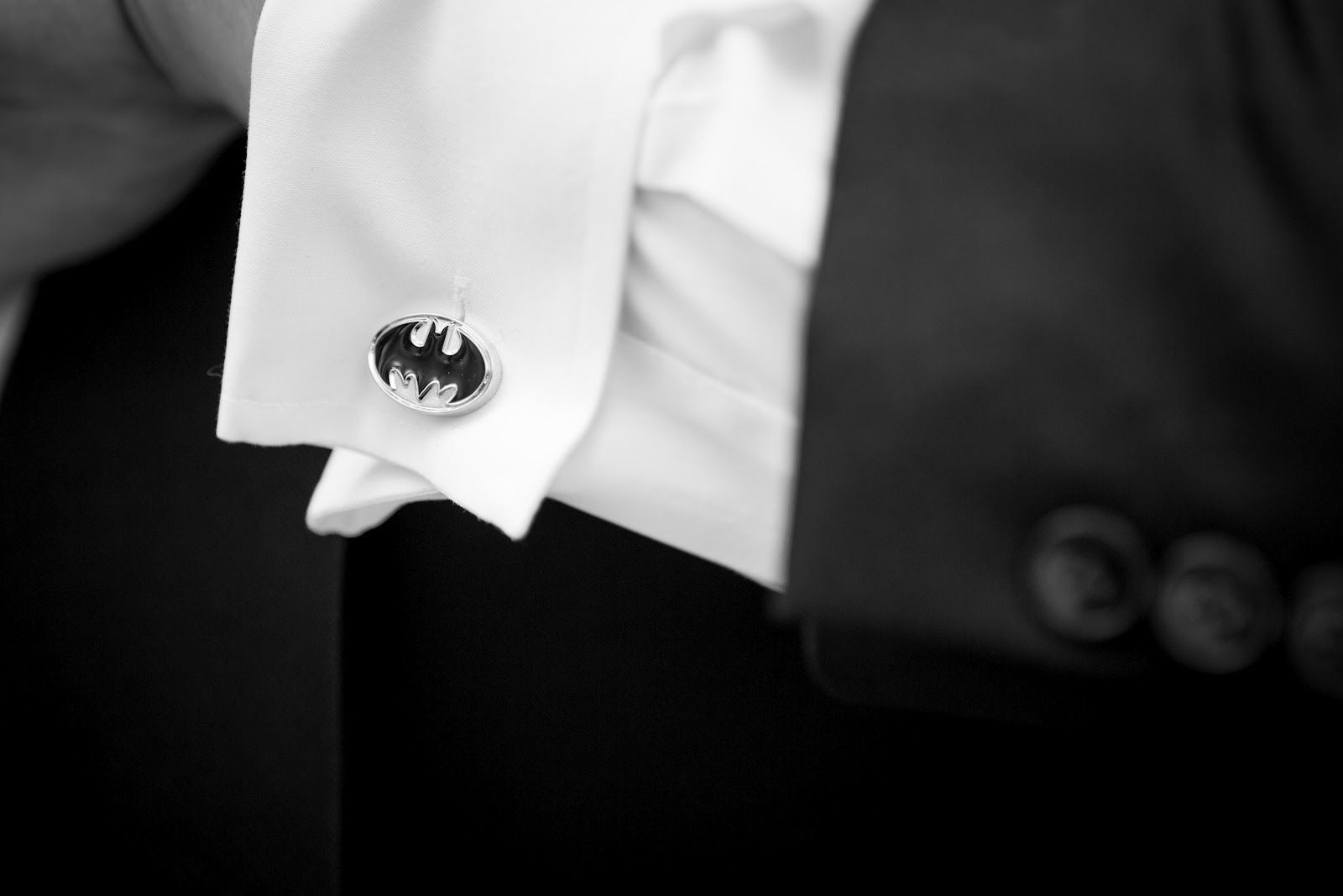 Batman cufflinks for the wedding day. haha if only Geoff wasn't wearing dress blues