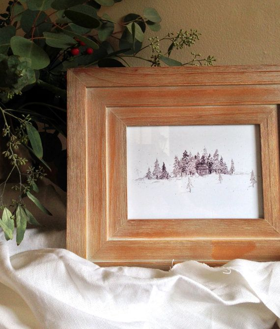 Photo of Items similar to Winter Lodge Landscape Print on Etsy