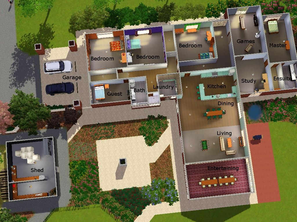 Awesome House Blueprints Sims 3 With Sims 3 Modern House Sims 3 Houses Plans House Blueprints Sims House Plans
