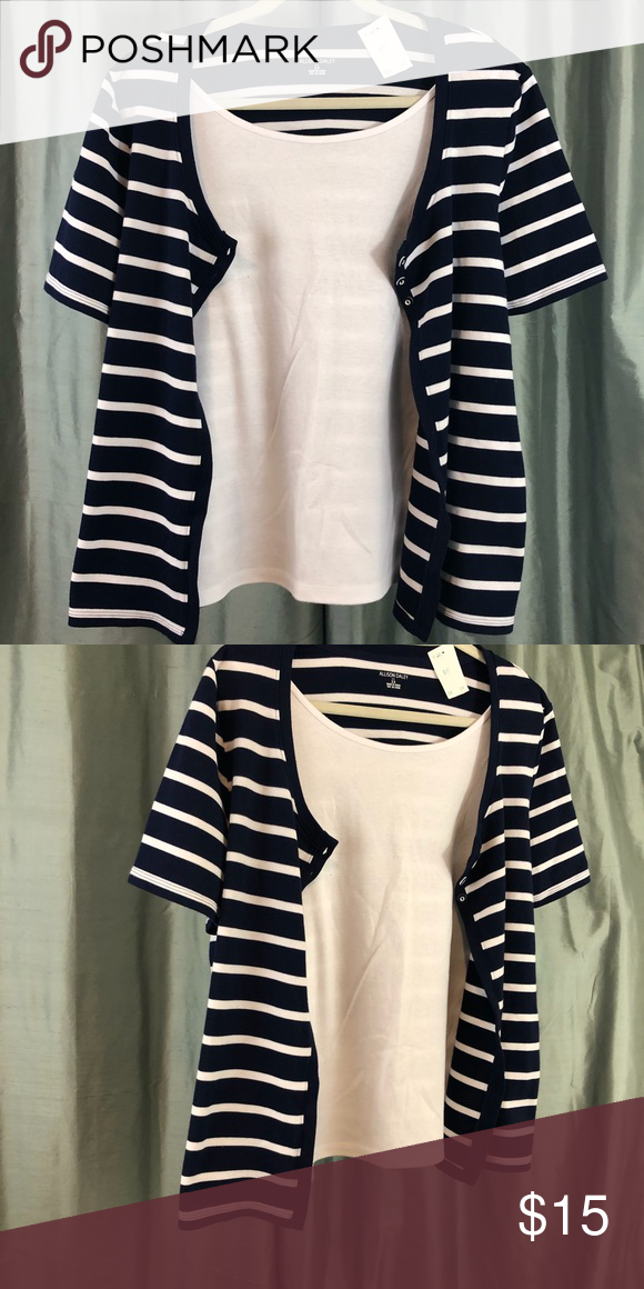 Allison Daley Blouse Striped Short Sleeve Shirt With White Tank