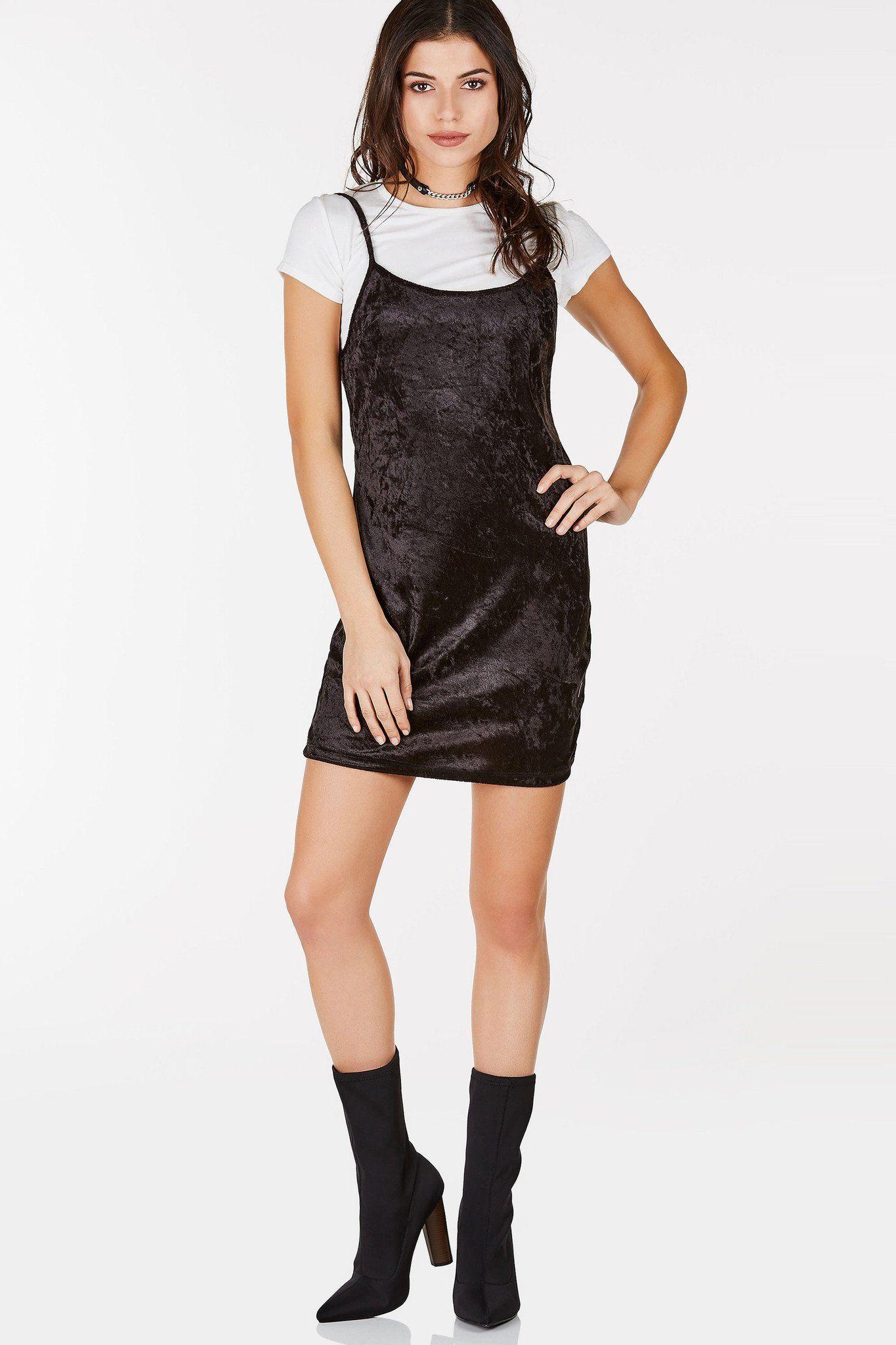 Basic Slip Dress With Velvet Finish Layered Over A Classic White T Shirt Layered Cami Slip Dress Dresses [ 2048 x 1365 Pixel ]
