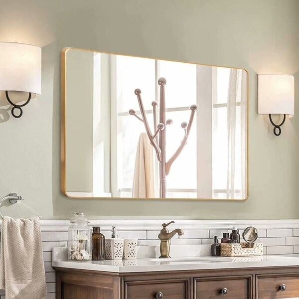 Shop Gold Round Corner Wall Mirror With Aluminum Alloy Thin Frame Free Shipping Today Large Bathroom Mirrors Bathroom Mirror Cabinet Bathroom Vanity Mirror
