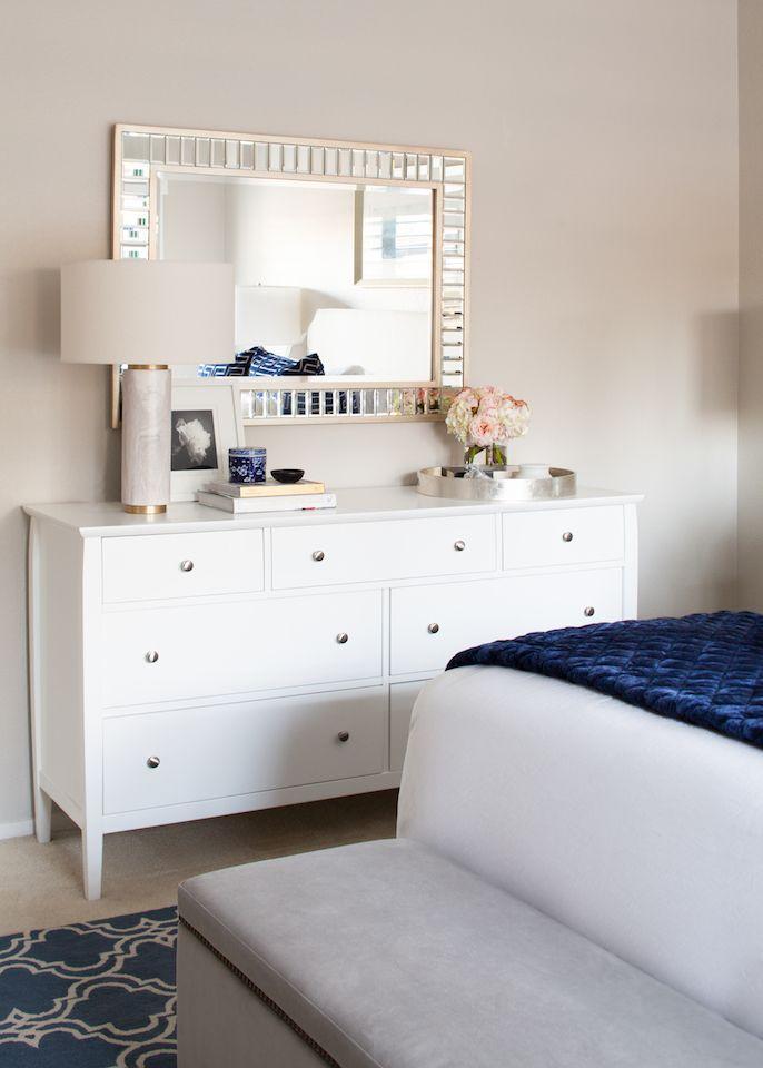 Modern Glam Blue And White Bedroom Transitional White Bedroom