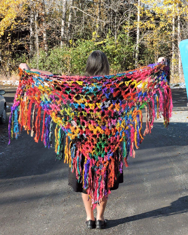 Super Speedy Sari Silk Shawl (crochet) | Ponchos y Chal