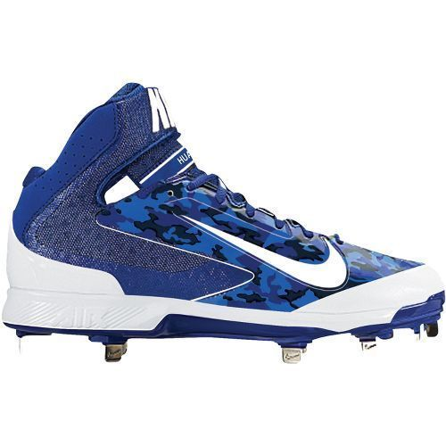 Nike blue #camo/white air huarache pro mid metal #baseball cleats #shoes