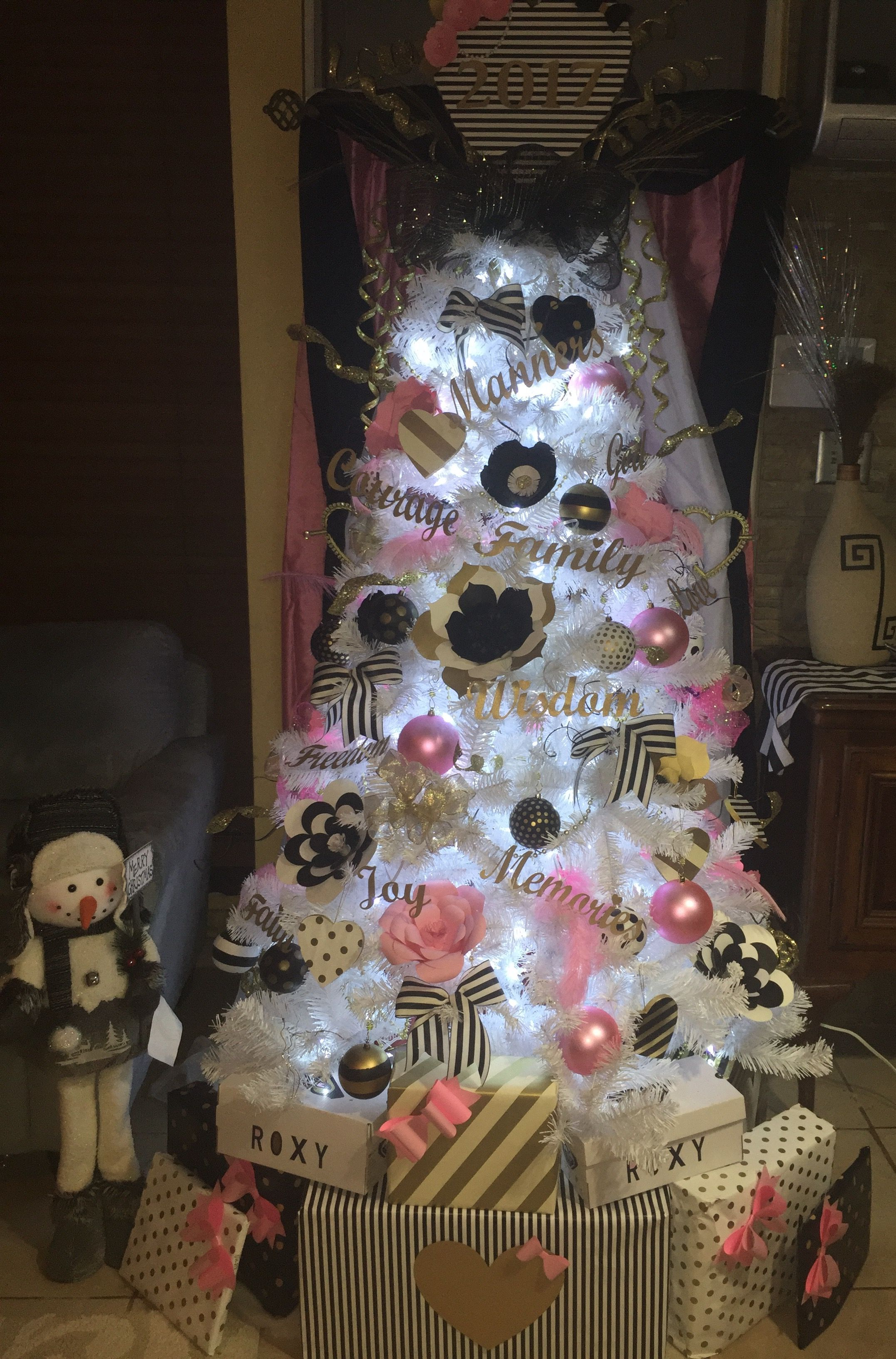 Black Gold Pink White Christmas Tree Decoration Ideas With Black