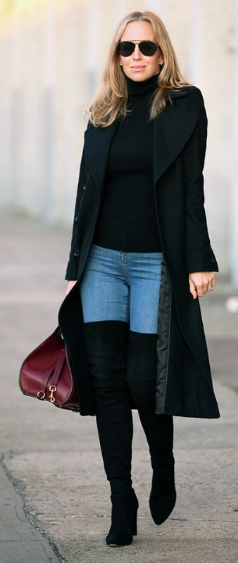 f116153fe601 These thigh high black over the knee boots look ultra sophisticated worn  with tight denim jeans