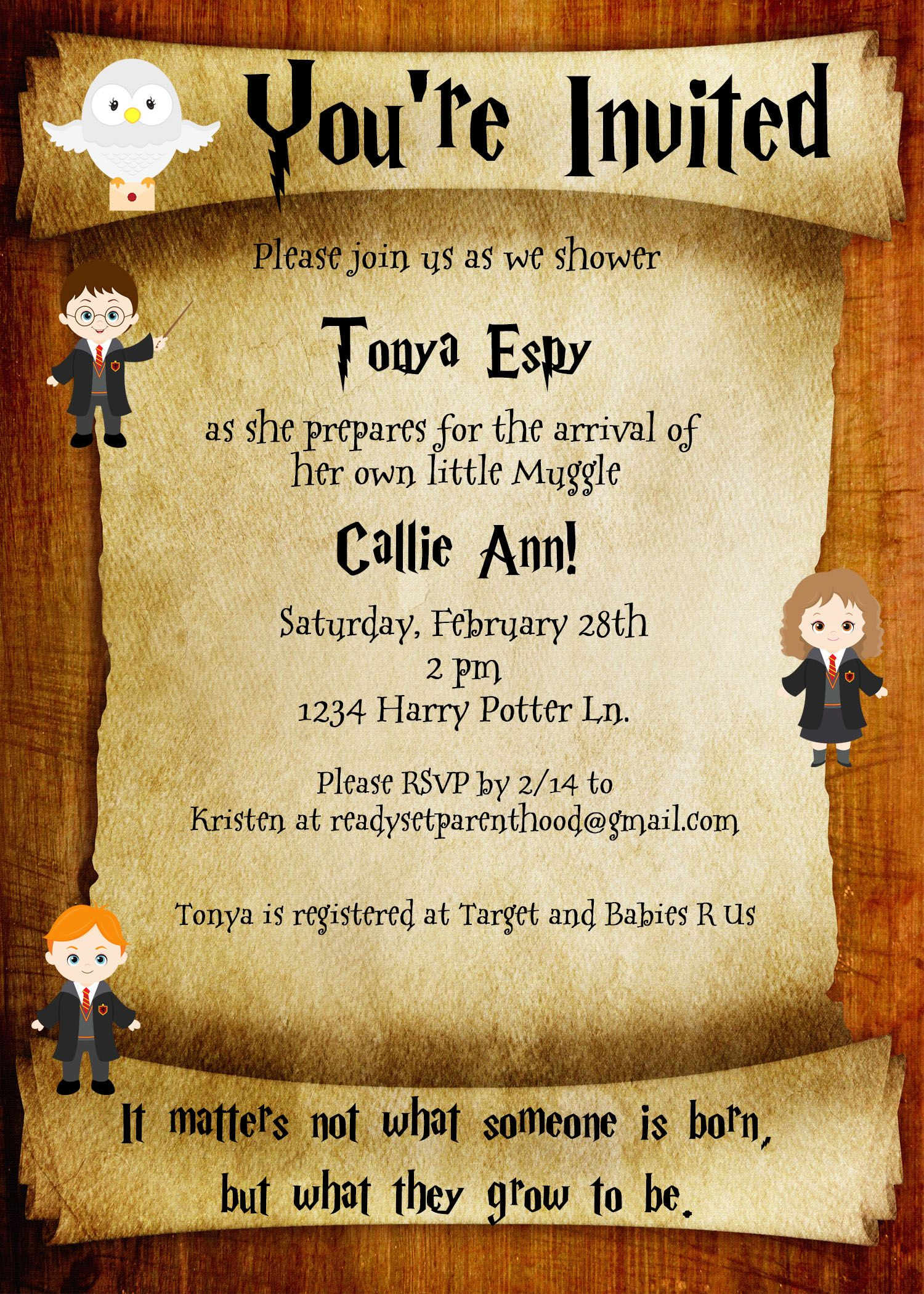 Harry Potter Baby Shower Invite Butter Beer Pinterest Harry