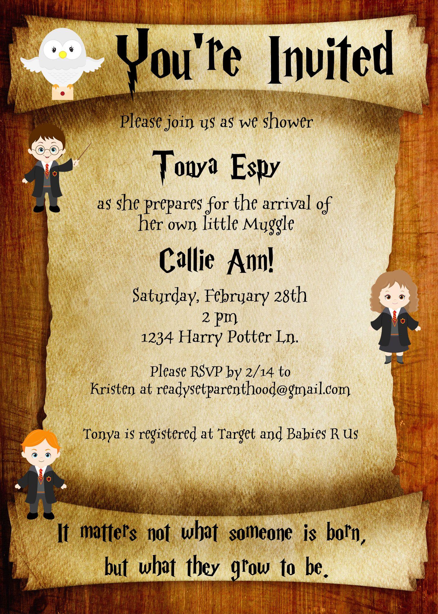 Harry Potter Baby Shower Invite | Butter Beer | Pinterest | Harry ...