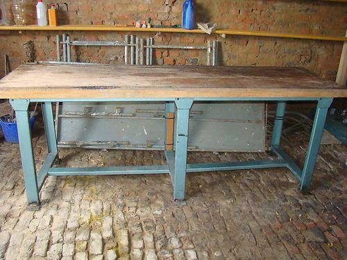 enorme etabli industriel vintage 240x70 metal loft console table meuble acier - Table Atelier Loft
