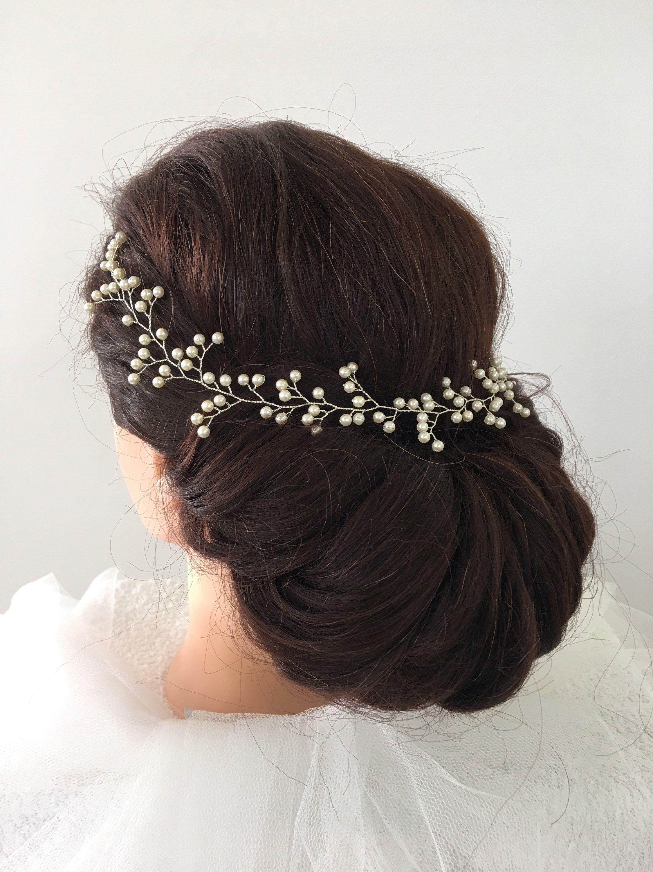Bridal hair vines Silver wire vines Long hair vine Crystals Bridal hair-vine pearl hair vine Bridal Hair Wreath Baby/'s Breath Headpiece
