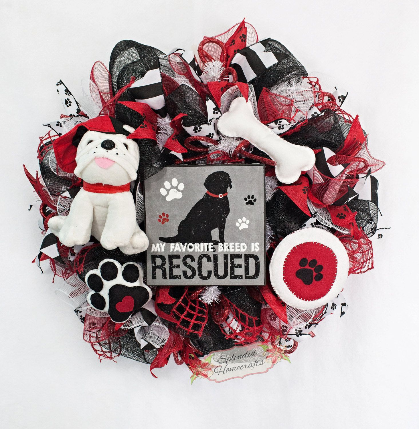 Crafts For Dog Lovers: Dog Wreath, Dog Lover Wreath, Rescue Dog Wreath, Pet