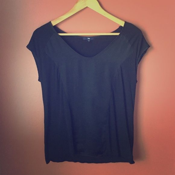 Jersey and Satin Top A soft jersey and satin detail top . Very soft v-neck line. Looks wonderful with skinny jeans while out with friends for causal dining. GAP Tops Blouses