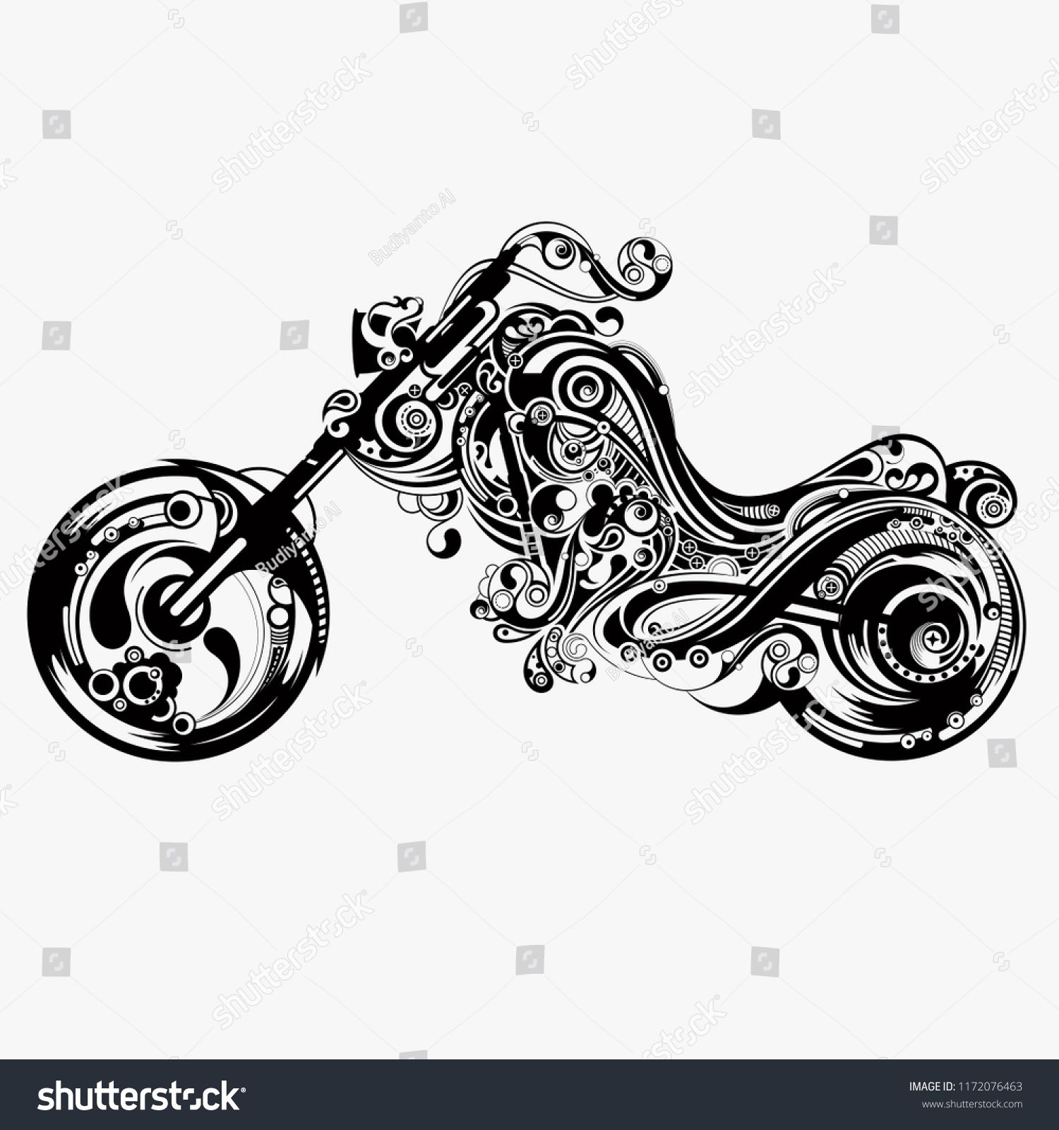 Motorcycle Vector Illustration Design For Tattoo Designs And