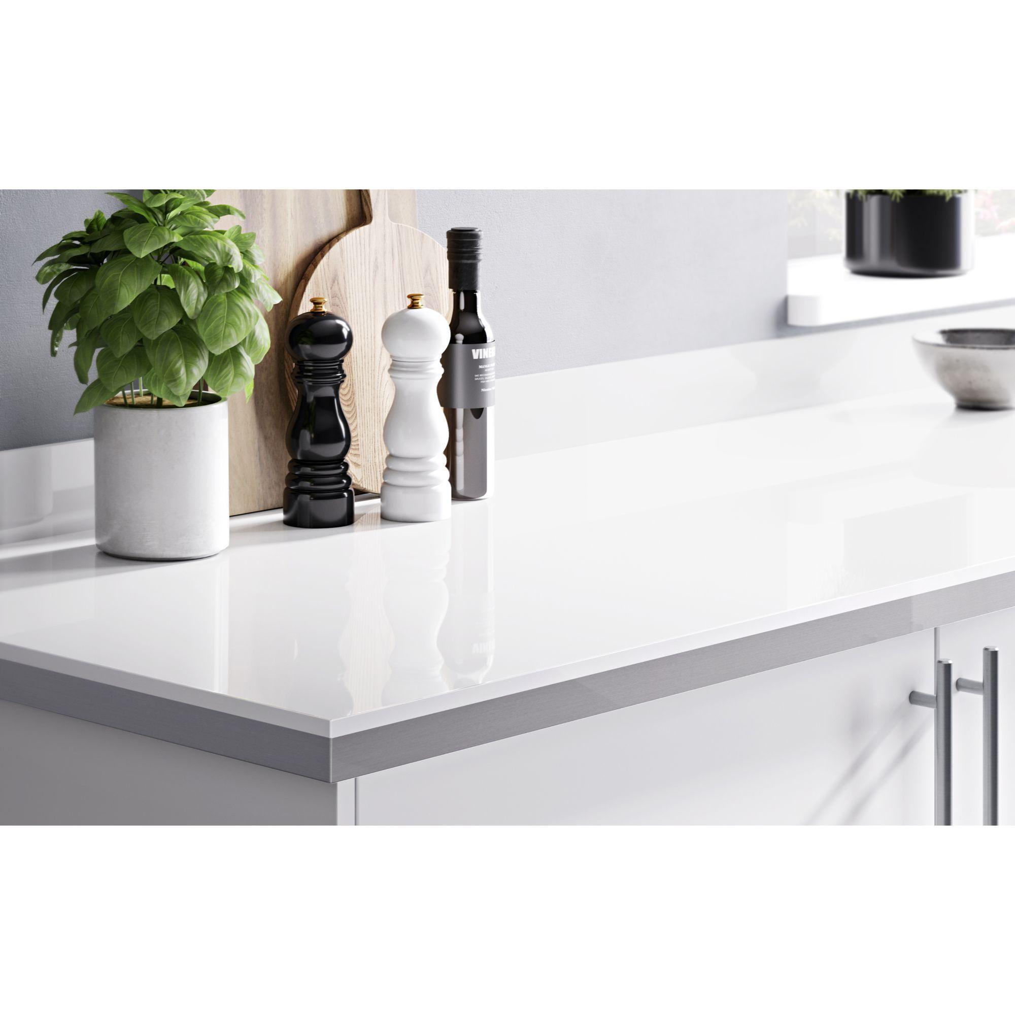 38Mm Berberis Gloss White Laminate Square Edge Kitchen
