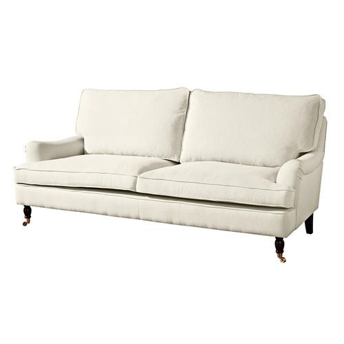 gemütliches Sofa mit Leinenbezug in cremeweiß, Couch mit ...