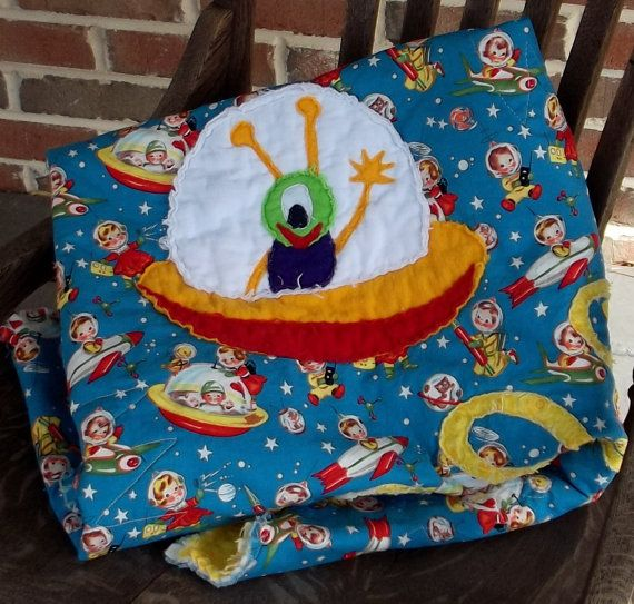 retro baby  quilt Outer Space Michael Miller by marylandquilter, $66.00