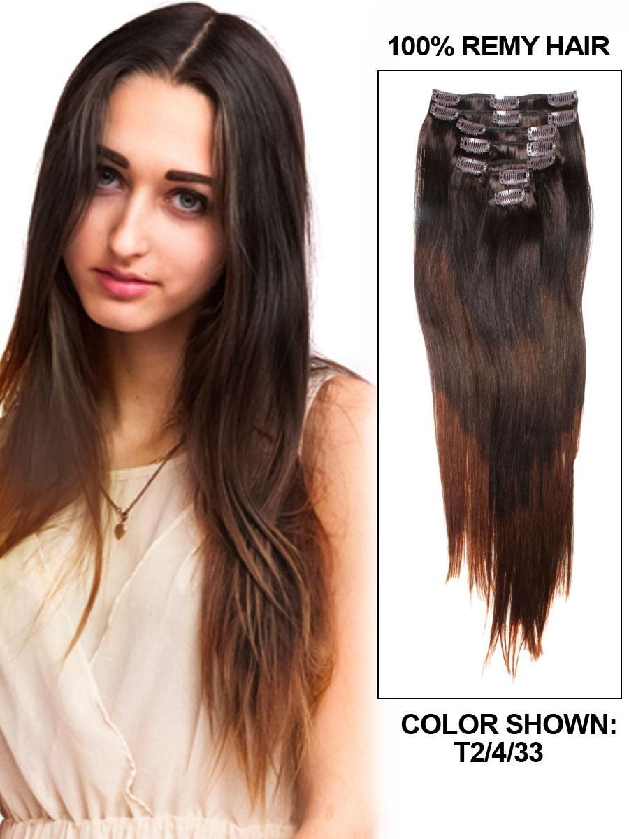 Three Tone Straight Ombre Clip In Hair Extensions 9 Pieces Per Set
