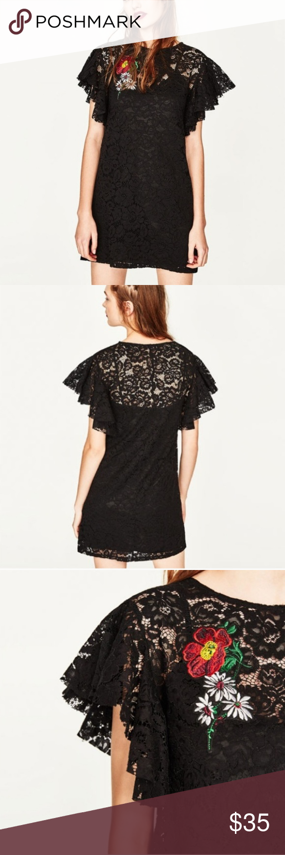 Zara Trafaluc Lace Dress With Embroidered Patch Lace Dress Ruffle Sleeve Dress Black Lace Dress [ 1740 x 580 Pixel ]
