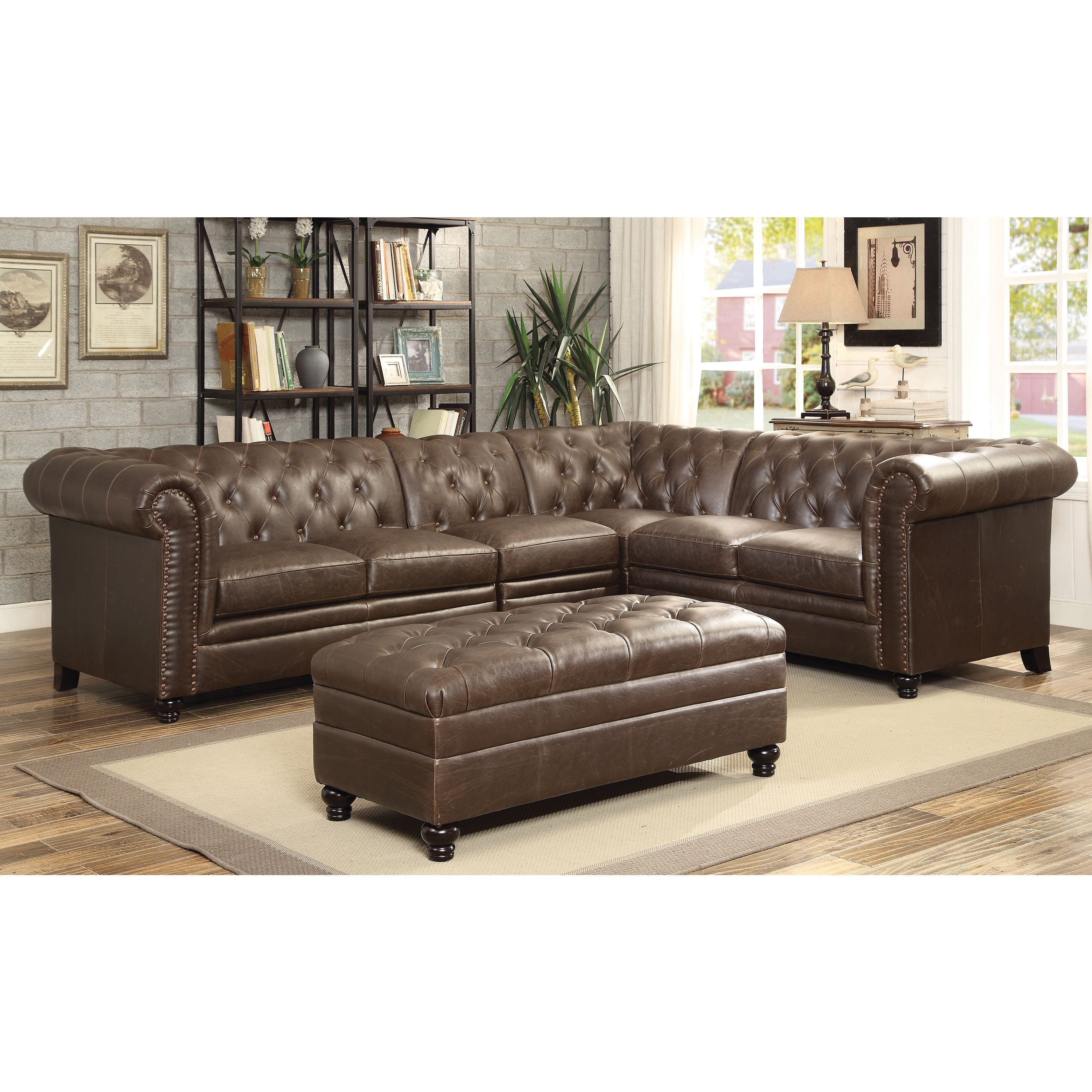 Best Brown Leather Tufted Sectional Sofa Overstock Com 400 x 300