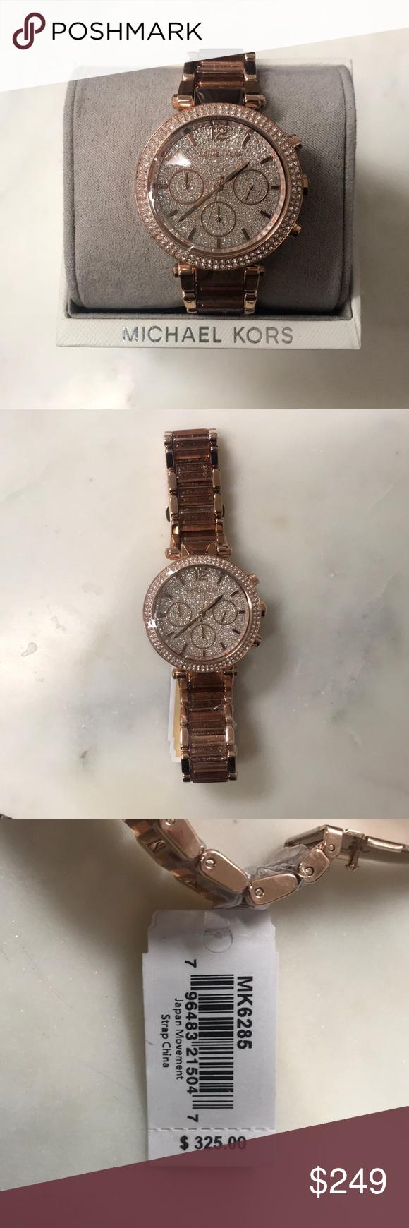 e1d8edad5145 NWT Michael Kors Parker Rose Gold-Tone Watch Glam Michael Kors Chronograph  Parker Gold-