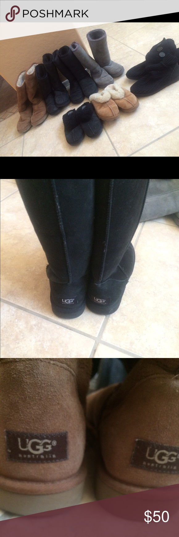 BIG VARIETY OF UGG BOOTS accepting offers My mom, sisters, and I have a large collection of ugg boots however we are new vegans and unable to wear these shoes, instead of throwing them away, it's more ethical to give them to other people! They vary in sizes I have 9s,10s,8s,7s and more! Let me know your size and I'll tell you what's available! In the picture the knit black ones are9, the tall brown are 10s, the grey ones are 8s and the black brand new ones are 7s! Only worn a few times…