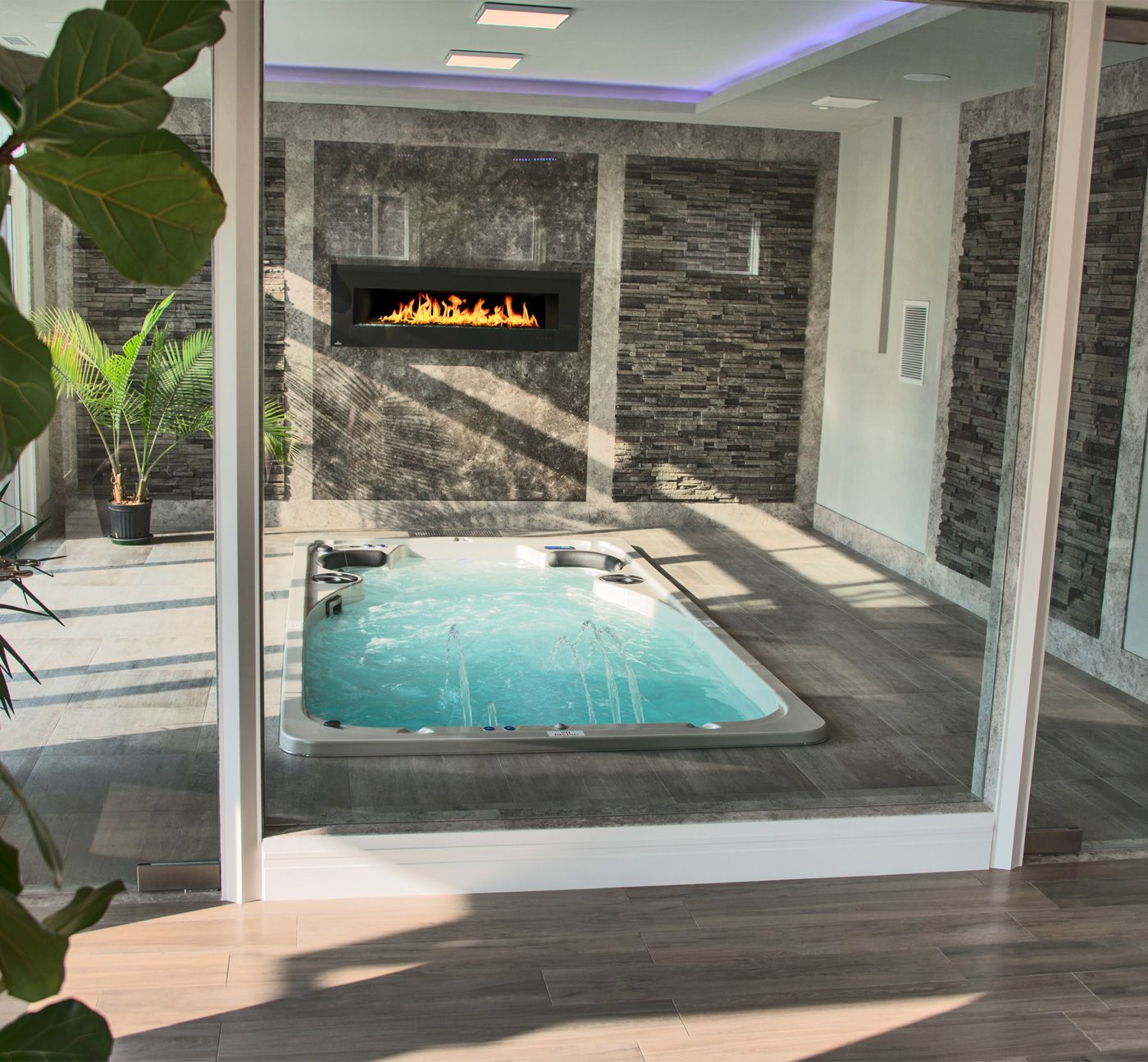 Check out this beautiful indoor swim spa install! | Amazing Hot Tub ...