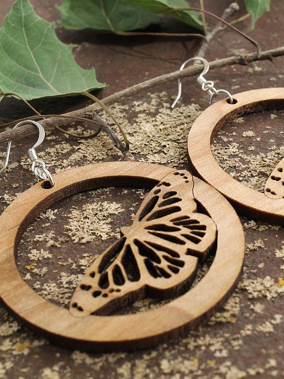 Butterfly Earrings Laser Cut Wooden Hoops by ...