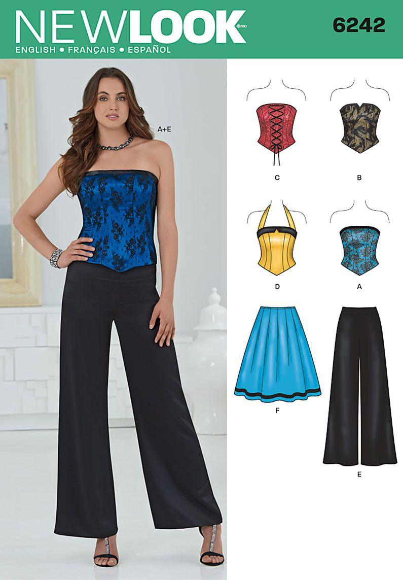 Skirt /& Wide Leg Pants ... New Look Ladies Sewing Pattern 6242 Corset Tops
