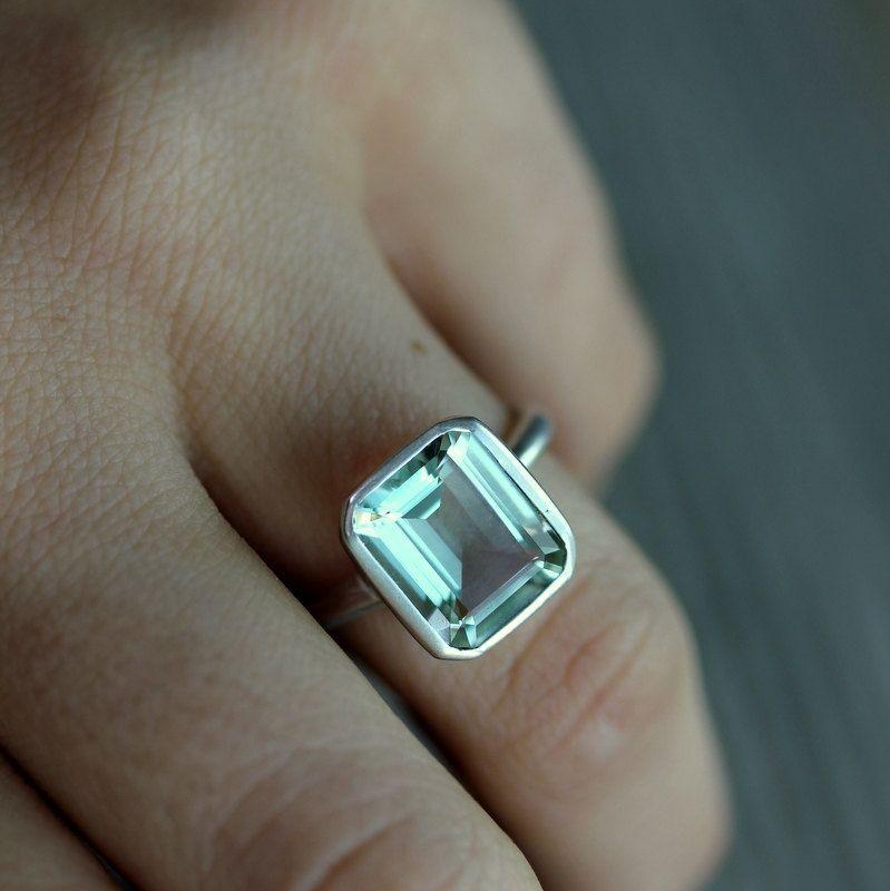 Green Amethyst Emerald Cut Gemstone Ring in by onegarnetgirl, $348.00