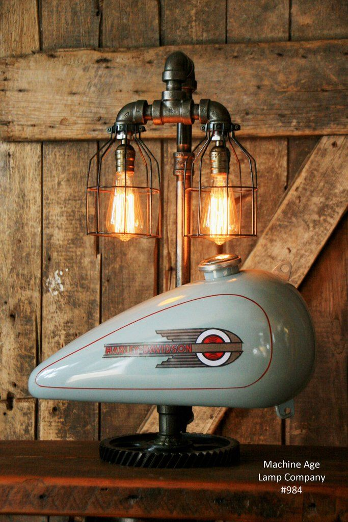 Steampunk Industrial Motorcycle Harley Davidson Gas Tank Lamp Right 984 Steampunk Lamp Lamp Steampunk Table Lamp