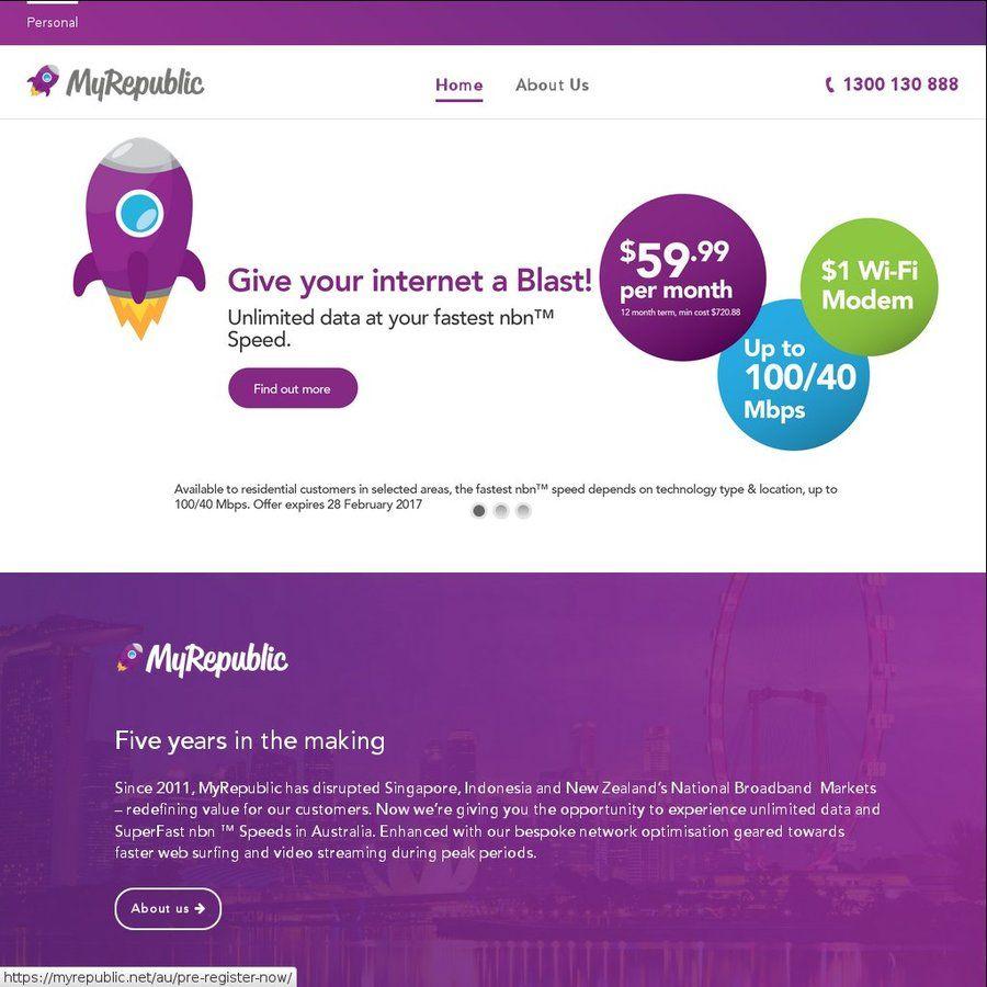 MyRepublic $59 99/Month (Min 12 Months) for 100/40 NBN Plan