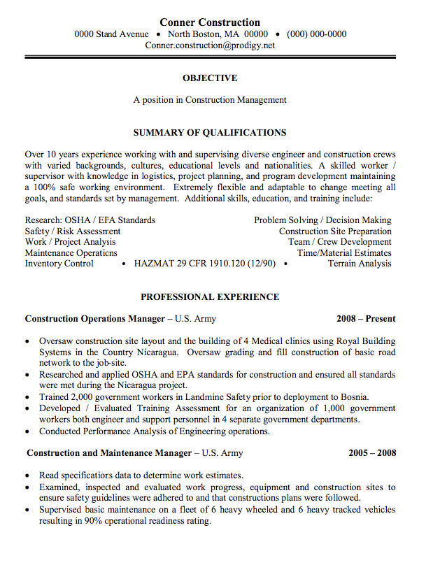 construction management sample resume http exampleresumecv org