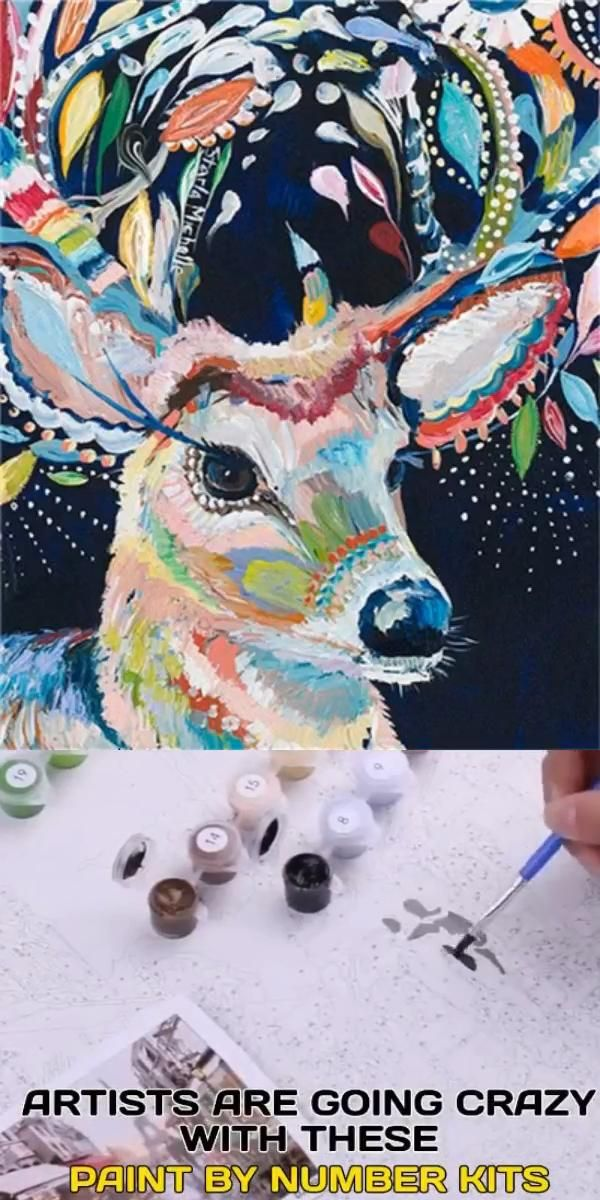 Crazy Deer DIY Paint By Numbers Kit Acrylic Painting On Canvas