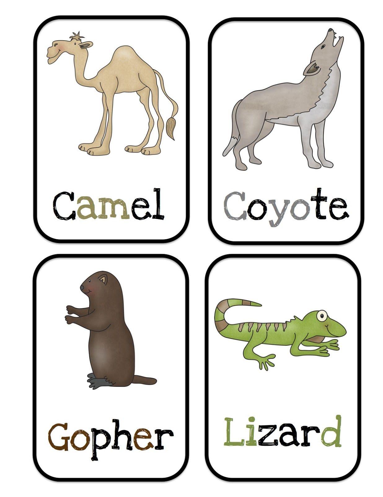 Preschool Printables Desert Animals Bulletin Board Cards