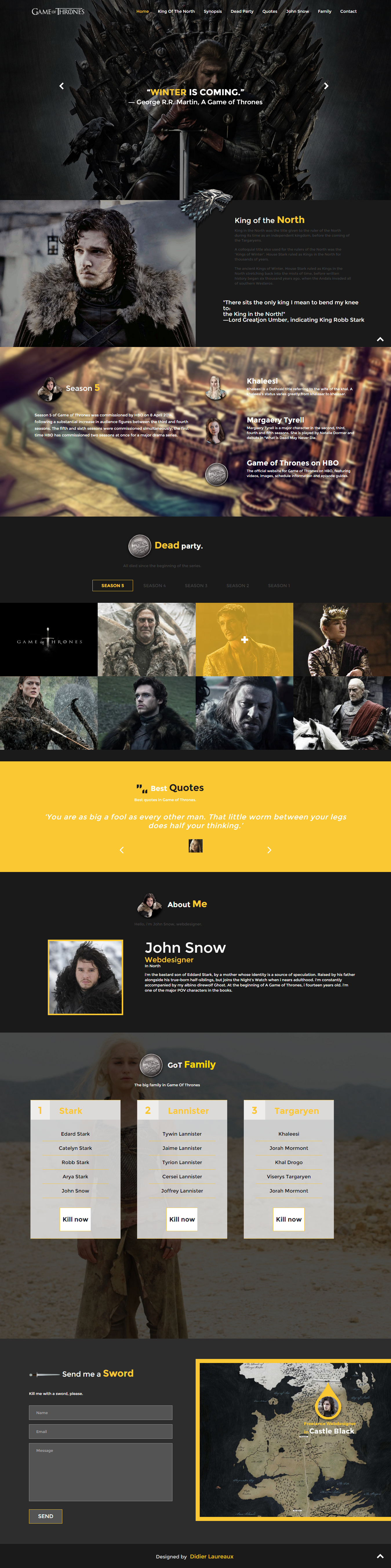 Game of thrones free html css responsive template | Web Design ...