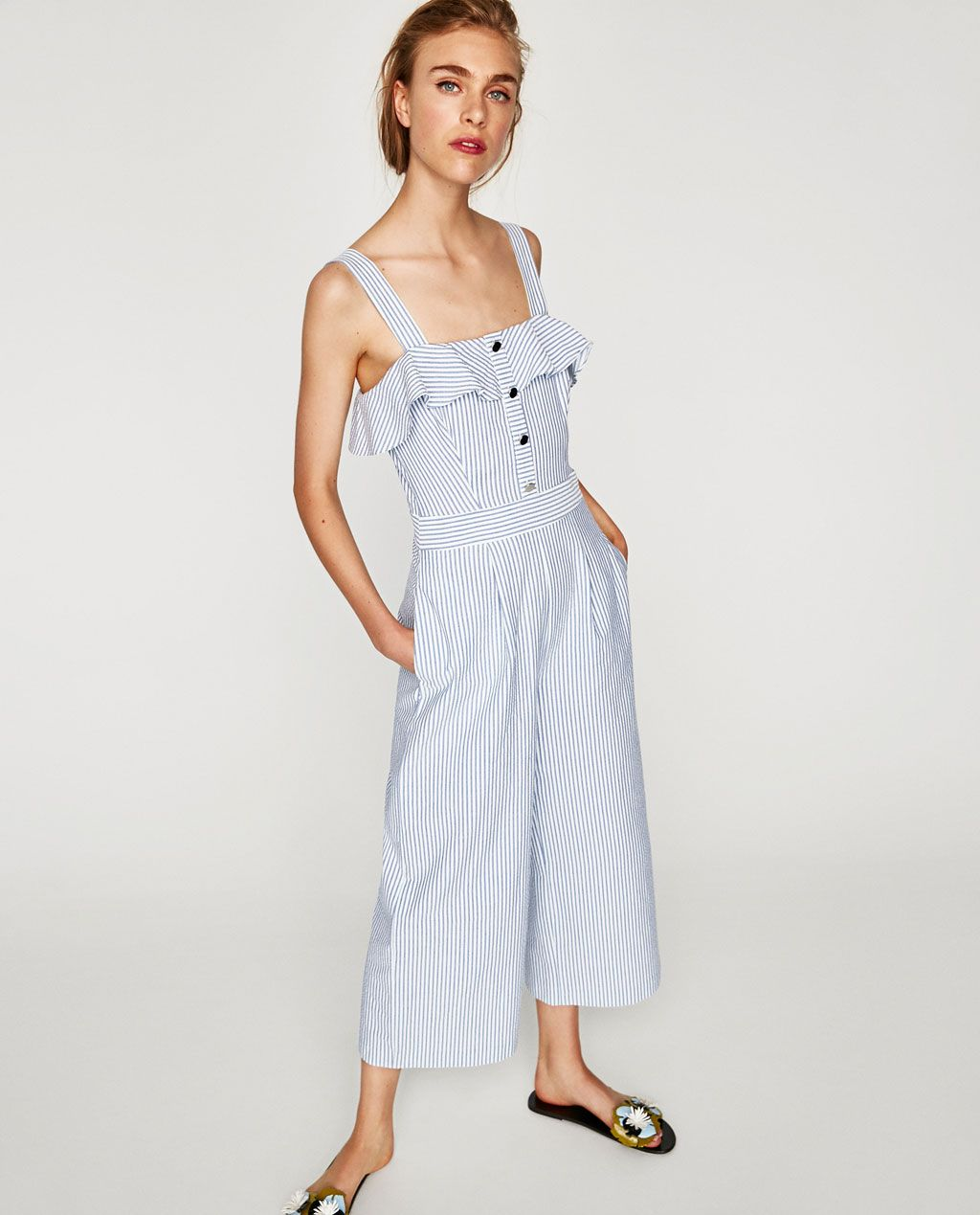 460eef6a7cec STRIPED JUMPSUIT WITH RUFFLES-JUMPSUITS-WOMAN
