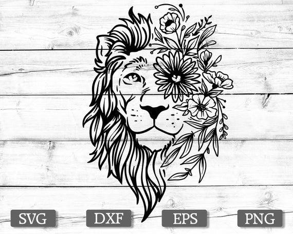 Download Boho lion svg, flower svg, lion svg, mandala svg, eps, dxf ...