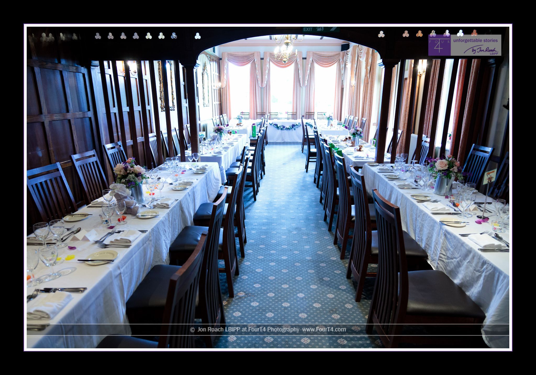 Dining Room At The Burley Manor Hotel Laid Out For A Wedding
