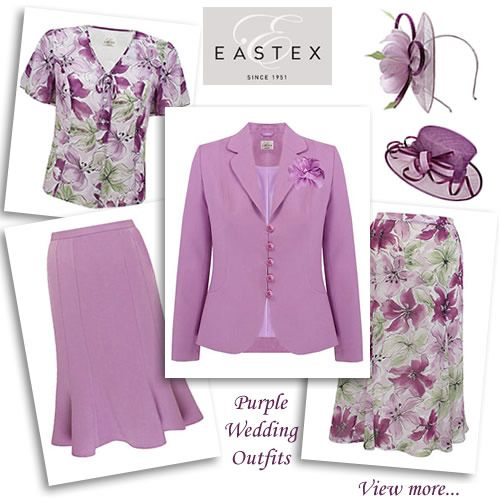 Eastex Purple Corsage Jacket Matching Skirt Dress Coat Mother Of The Bride Outfit