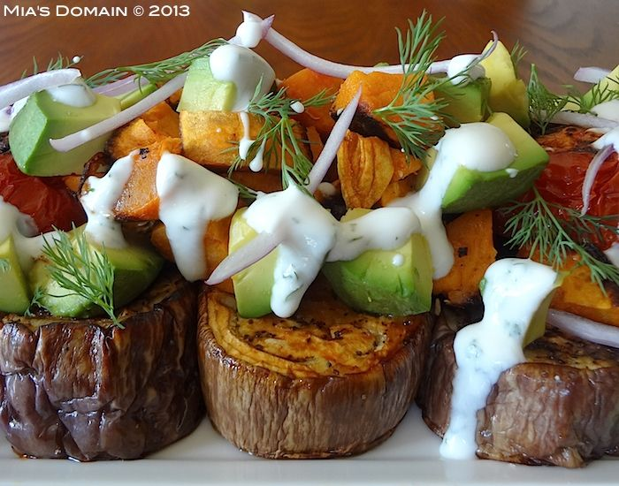 Mias Domain | Rustic Modern Cuisine: Graffiti Eggplant Sweet Potato Avocado Salad with Creamy Dill Dressing
