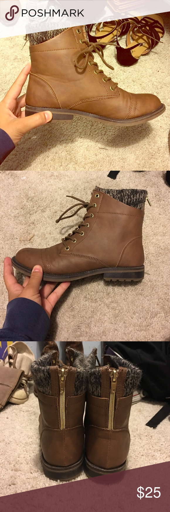 Combat Boots with Stitched Cloth | Seasons, Cold weather and Football