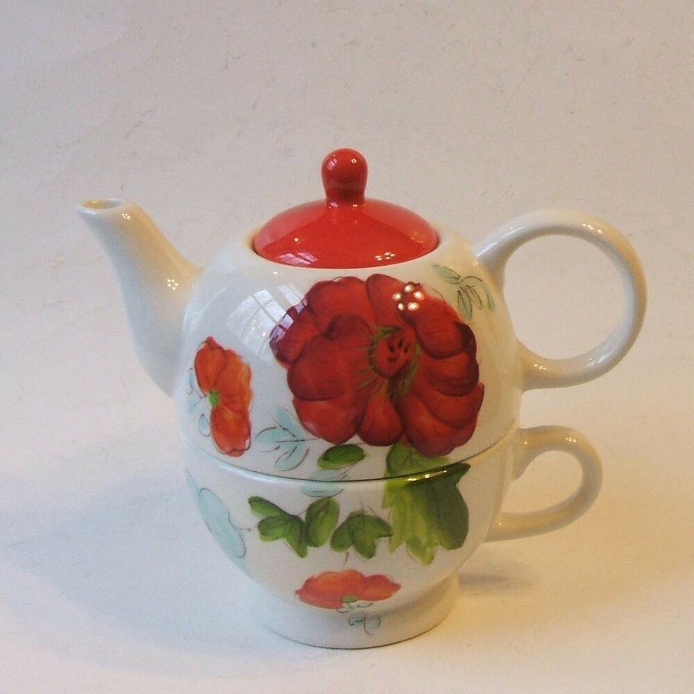 Laurie Gates Pottery Individual Teapot And Cup Tea For One Red Flower Lauriegates Teapotpottery Tea Pots Teapots And Cups Bamboo Tea